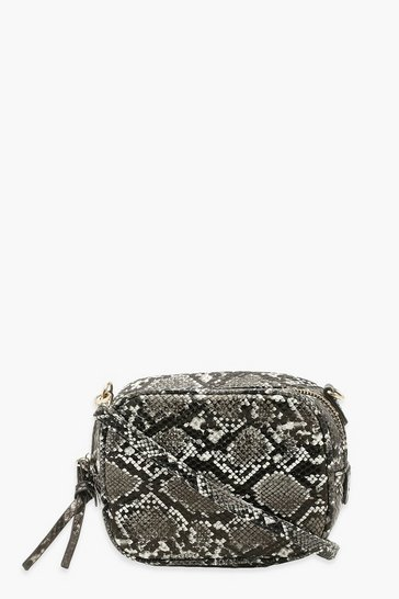 Grey Snake Cross Body Bag