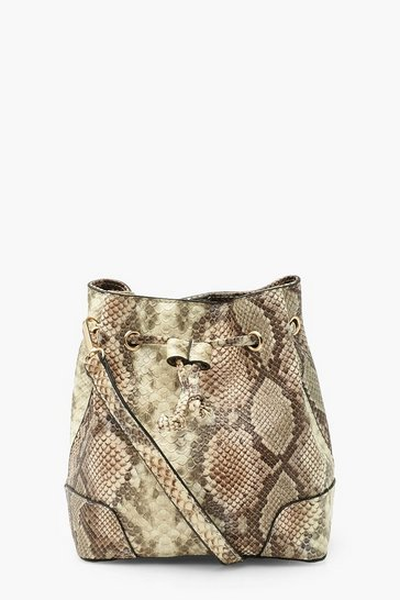 Natural Snake Cross Body Duffle Bag