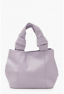 Lilac purple Soft Pu Knot Handle Small Day Bag