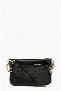 Black Croc Double Pocket Cross Body Bag