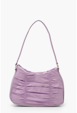 Lilac Nylon Ruched Underarm Bag