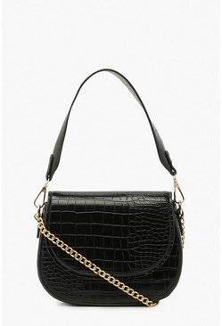 Black Croc Handle Detail And Chain Cross Body Bag