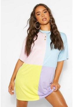 Meerdere multi Colour Block T-Shirt Jurk