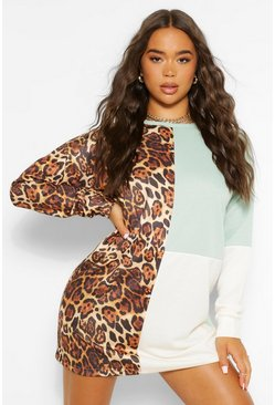Ecru white Animal Print Colour Block Sweatshirt Dress