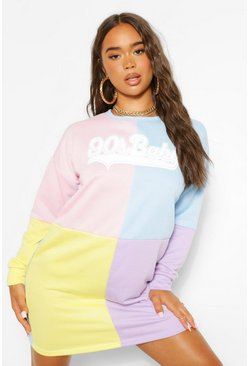 Multi 90'S Baby Colour Block Sweater Dress