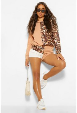 Leopard Print Colour Block Jogger Short