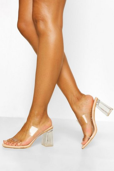 Nude Clear Heel Mules