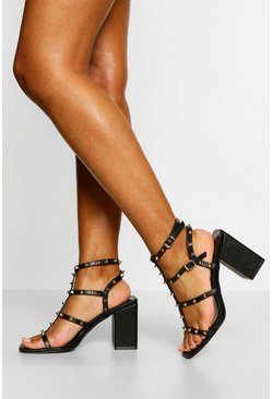 Black Stud Detail Caged Block Heels