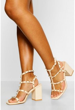 Nude Stud Detail Caged Block Heels