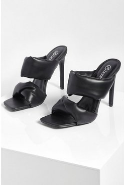 Black Padded Double Strap Stiletto Heel Mules