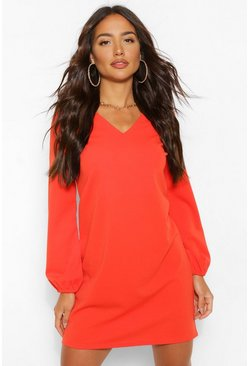 Burnt orange orange Long Sleeve V Neck Crepe Shift Dress