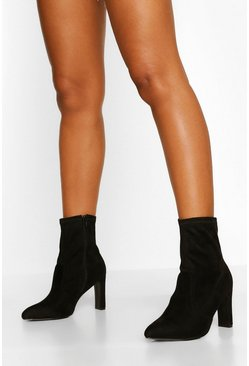 Black Wide Fit Flat Heel Sock Boots