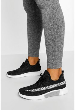 Contrast Panel Knitted Sports Trainers, Black