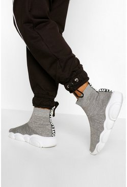 Grey Chunky Sole Knitted Sock Trainers