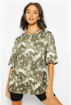 Khaki Tie Dye Oversized Elbow Length T Shirt