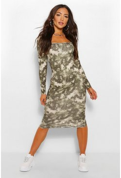 Tie Dye Square Neck Long Sleeve Midi Dress, Khaki