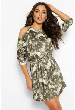 Khaki Tie Dye Cut Out Shoulder T Shirt Dress