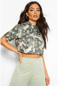 Tie Dye Cropped Hoody Sweat, Khaki