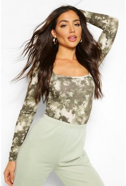 Tie Dye Square Neck Long Sleeve Bodysuit, Khaki