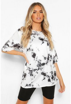 White Tie Dye Oversized Elbow Length T Shirt
