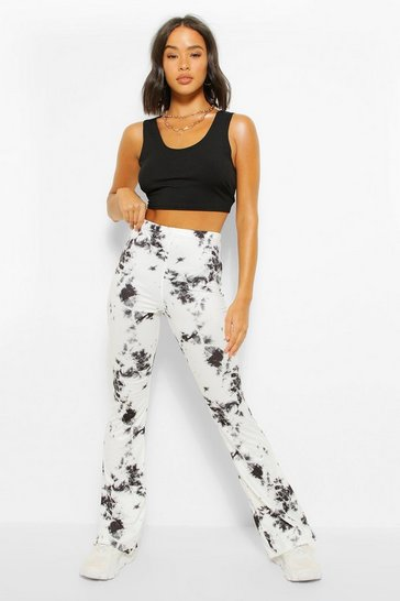 White Tie Dye Flarekick Trousers