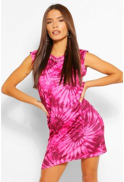 Pink Tie Dye Shoulder Padded Sleeveless Dress