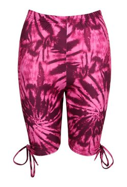 Pink Tie Dye Ruched Side Cycling Short
