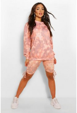 Tie Dye Crew Neck Oversized Sweat , Stone