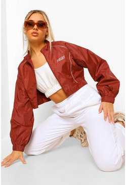 Red Fit Contour Piping Zip Up Jacket