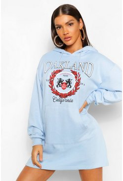 Baby blue blue Oakland Slogan Hoodie Dress