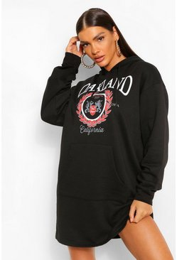 Black Oakland Slogan Hoodie Dress