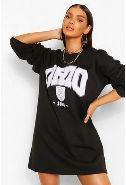 Black Ohio Slogan Sweat Dress