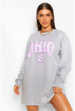 Grey marl grey Ohio Slogan Sweat Dress