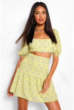 Paisley Print Puff Sleeve Crop Top, Yellow