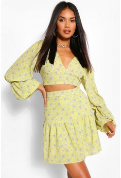 Paisley Print Extreme Puff Sleeve Crop Top, Yellow