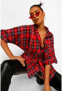 Red Check Tie Belted Shirt