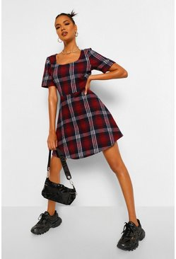 Berry red Check Short Sleeve Skater Dress