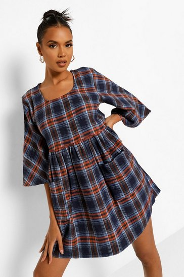 Rust orange Oversized Check Pocket Detail Smock Dress