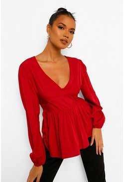 Berry red Woven Plunge Peplum Blouse