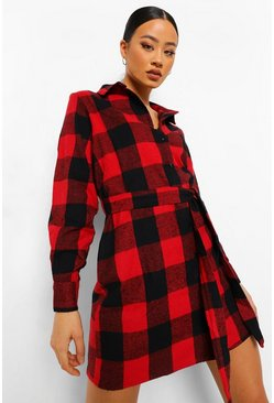 Check Self Belted Oversized Shirt Dress, Red rouge