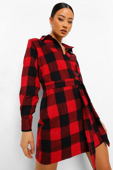 Red Check Self Belted Oversized Shirt Dress