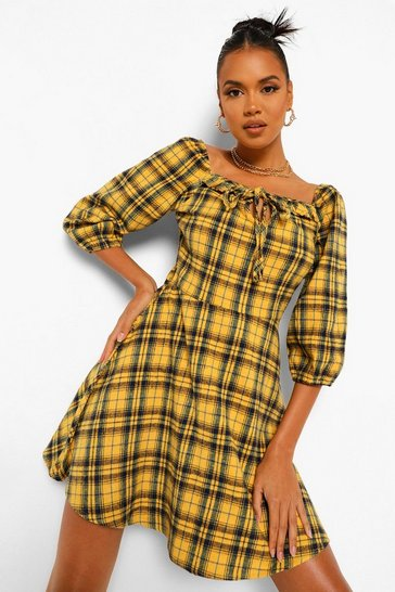 Mustard yellow Check Puff Sleeve Smock Dress