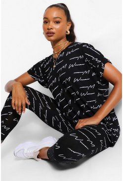 Black Woman Script V Neck Oversized Tee