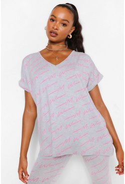 Grey Woman Script V Neck Oversized Tee