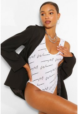 White Woman Script Round Neck Body Top