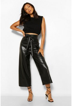 Black Leather Look Wide Culotte With Tie Belt