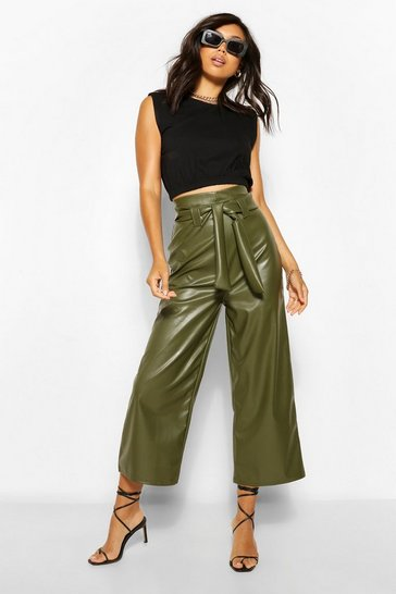 Khaki Leather Look Wide Culotte With Tie Belt