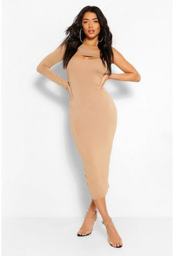 Camel beige One Shoulder Cut Out Bodycon Midaxi Dress