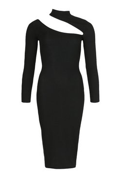 Black Cut Out High Neck Bodycon Midi Dress