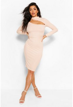Nude Cut Out High Neck Bodycon Midi Dress